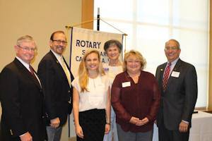 In the picture, from left to right, are: Bill Payne, San Marino Rotary Global Grant Scholar chair; Randy Pote, District Governor, District 5300; Gaelen Stanford-Moore; Marilyn Diaz, District 5300 Global Grant Scholar chair; Diane O'Neal, District Global Grant Scholar committee member; and Mike Driebe, San Marino Rotary Club President