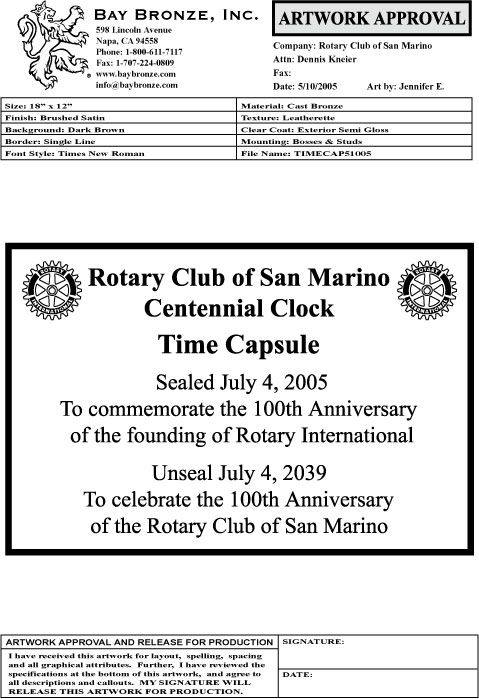 Centennial Clock | Rotary Club Of San Marino